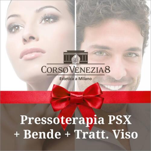 Pressoterapia PSX + bende elastiche + trattamento viso donna e uomo
