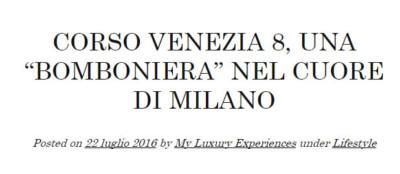 Corso Venezia 8 su My Luxury Experience